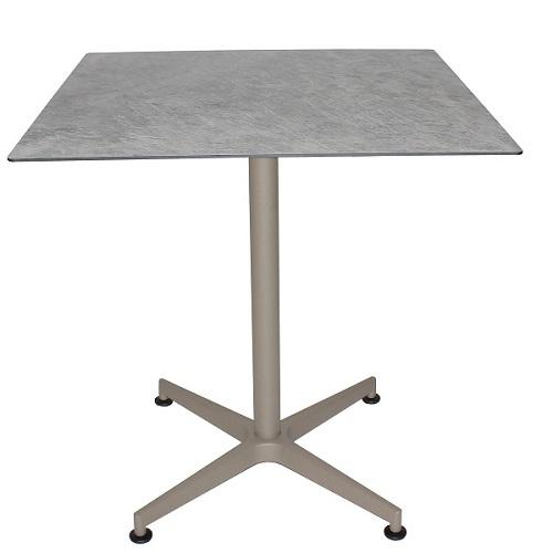Tisch VISION Gestell taupe mit einer HPL-Kompakt-Tischplatte - Industrial-Design Marmor hell, 69 x 69 cm