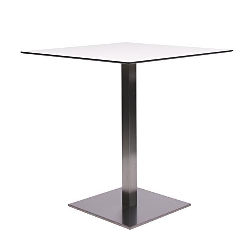 Tisch MANILA Edelstahl mit HPL-Kompakt-Tischplatte 10 mm stark, 69 x 69, weiß mit schwarzen Rand