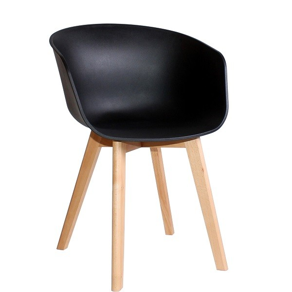 moderner Schalenstuhl UMBERTO mit schwarzer Sitzschale aus Kunststoff