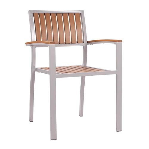 Outdoor Stuh | stapelbarer Armlehnstuhl TIMOR mit Kunststoffleisten in natur