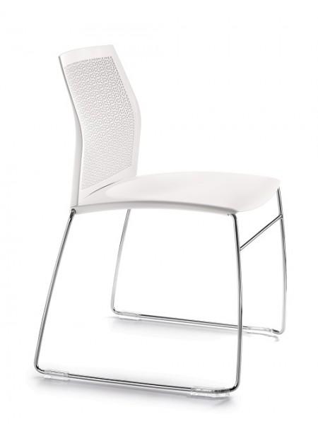 stabiler Kunststoffstuhl ORLINO - stapelbar in weiß