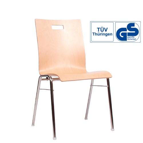 Holzschalenstuhl / Stapelstuhl COMBISIT A40G mit Griffloch  ohne Sitzpolster
