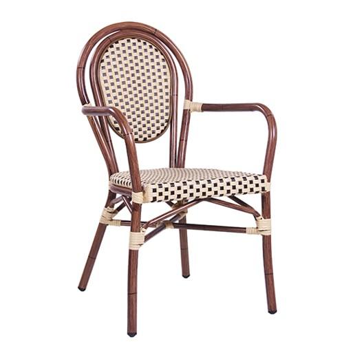 Outdoor Stuhl BAMBU AL ➜ Gestell mit Armlehnen aus Aluminium in Bambusoptik und mit Flechtung in beige-braun