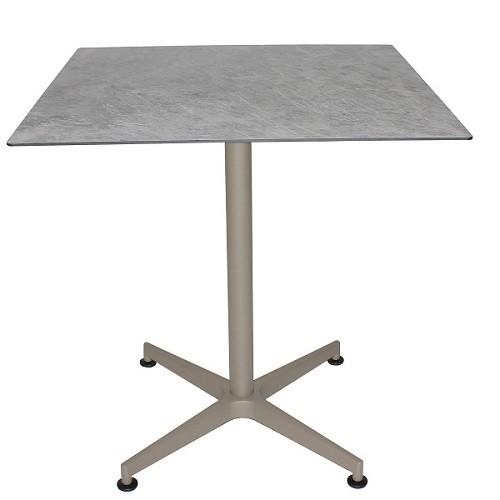 Aluminium Tisch VISION Gestell taupe mit einer HPL-Kompakt-Tischplatte - Marmot hell, 69 x 69 cm