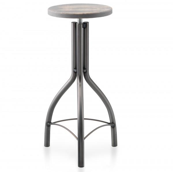 Metall Hocker SPIN grau glänzend Sitz steingrau Antiklook