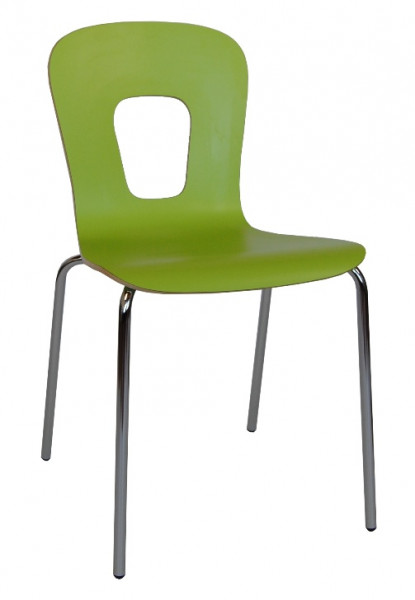 moderner Stapelstuhl mit hochwertiger HPL Beschichtung in limonengrün