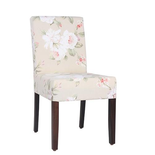 Vollpolsterstuhl | komfortabler Restaurant Stuhl  LEONI mit Möbelstoff Blumen-Muster im englischen Stil