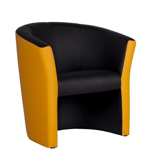 CLUBSESSEL CARLO MC Stoff Rückenlehne safran, Stoff Sitzfläche schwarz