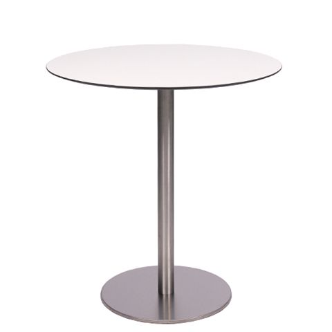 Tisch MARIANO mit einer HPL-Kompakt-Tischplatte 10mm, Ø 69 cm weiß mit schwarzem  Rand (TPHPL10-D69-we)