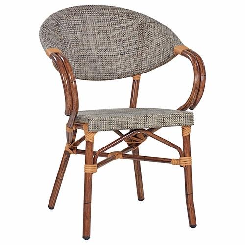 Caféhaus-Stuhl MANGO mit Armlehnen in Bambusoptik - grün-braun