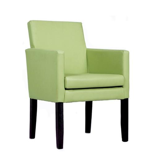 Gastronomie Sessel | Polstersessel ROCCO in nussbaum dunkel - Kunstleder hellgrün