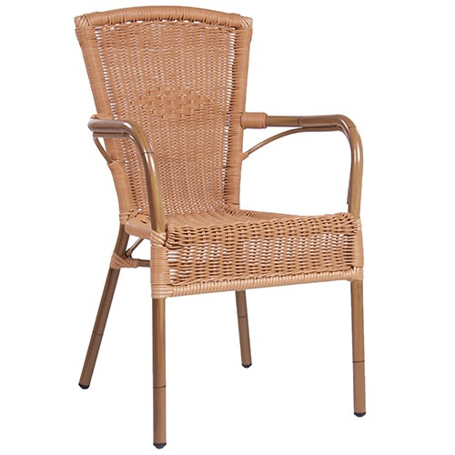 Outdoor Sessel RIVA mit Lehne in Bambusoptik