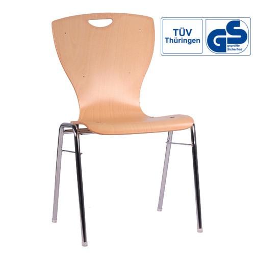 Stapelstuhl   Holzschalenstuhl   Konferenzstuhl mit Griffloch