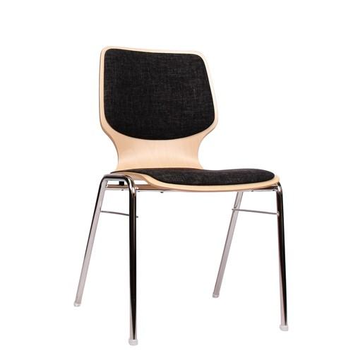 Stapelstuhl mit Metall Gestell COMBISIT A20 mit Sitz- und Rückenpolster, Uni-Stoff dunkelgrau