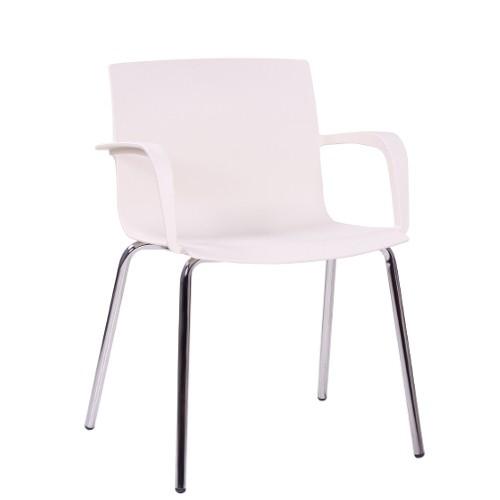 Armlehnstuhl Stapelstuhl für Wartebereiche ALINA in weiß