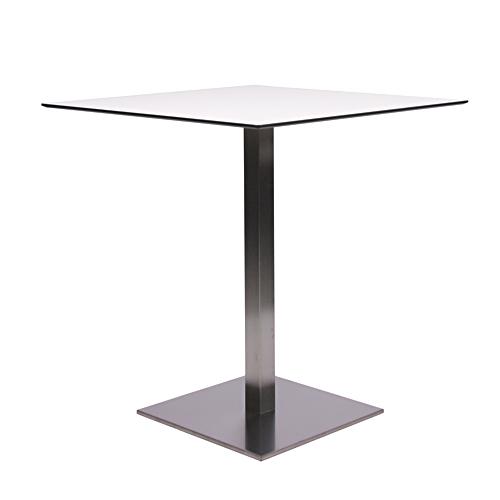 Tisch MANILA mit einer HPL-Kompakt-Tischplatte 10 mm, 69 x 69 cm weiß mit schwarzem Rand (TPHPL10-6969-we)