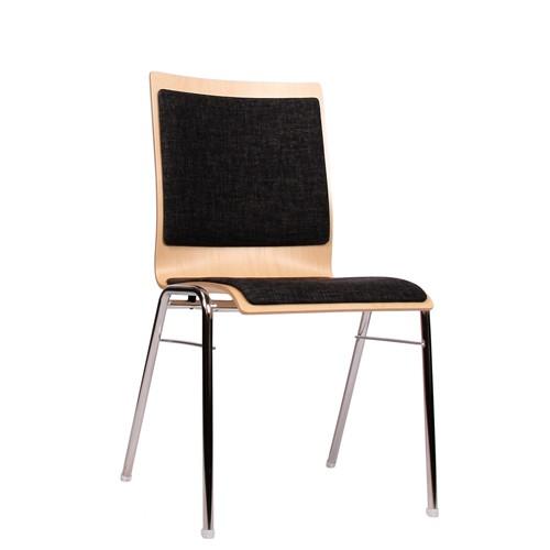 Stuhl Konferenzen Saalbestuhlung Stapelstuhl COMBISIT A40 mit Sitz- und Rückenpolster, Uni-Stoff dunkelgrau