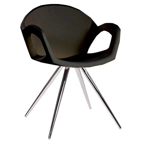 moderner Sessel mit schwarzer Kunststoff Sitzschale für Bistros oder Eisdielen
