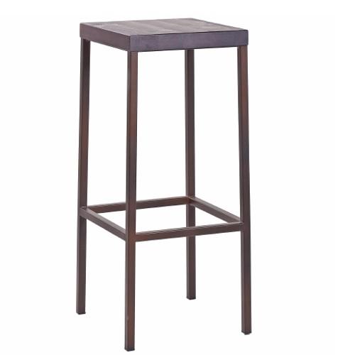 Barhocker Design Metall für Gastronomie, Gestell Stahlrohr Corten, Sitz Kiefer kaffebraun