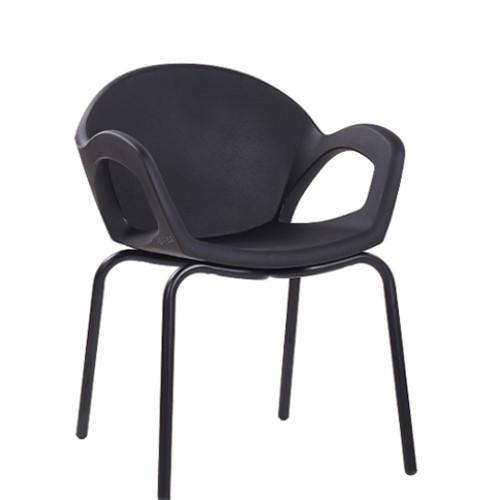 Designer Sessel Armlehnstuhl, Gestell schwarz lackiert, robuste  Kunststoffschale schwarz