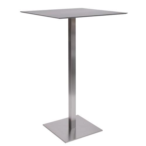 Wetterfester Stehtisch MANILA Edelstahl mit HPL-Kompakt-Tischplatte 10 mm, 59 x 59 cm schwarz
