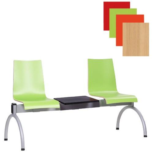 Traversenbank COMBISIT HPL limonengrün 2-bis 4-Sitzer mit Ablagetisch, Wartezimmerbänke