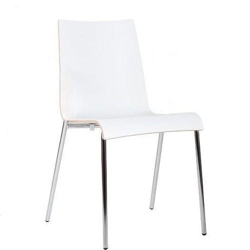 Metallstuhl | Gastronomiestuhl | Kantinenstuhl mit einer extrem strapazierfähigen HPL-Sitzschale weiß