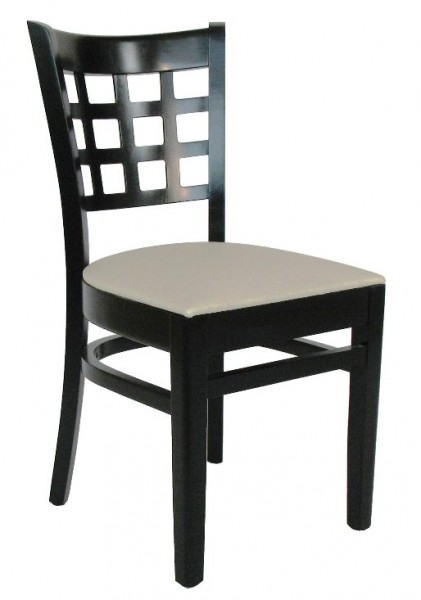 Restaurantstuhl | Bistrostuhl | Gastronomie Stuhl BRITTA in schwarz, Kunstleder beige