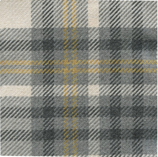 Möbelstoff | Polsterstoff SCT01 mit Karo-Muster in grau-mustard - schwer entflammbar
