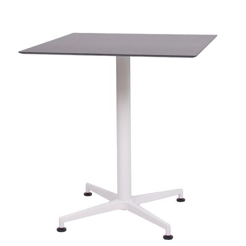 Tisch VISION Gestell weiß mit einer HPL-Kompakt-Tischplatte schwarz, 69 x 69 cm (TPHPL10-6969-sw)