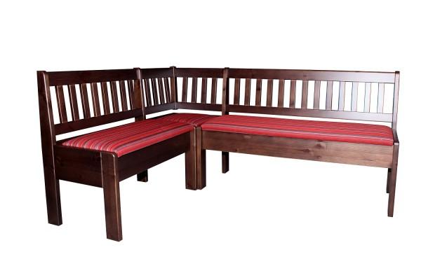 traditionelle Holzbank gepolstert | Eckbank gepolstert, Stoff mit Blockstreifen LUT439 SafeTex rot-grau-anthrazit