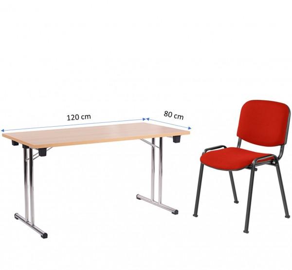 Möbel für Homeoffice | Klapptisch FT 128 (120 x 80 cm) und Stapelstuhl ISO