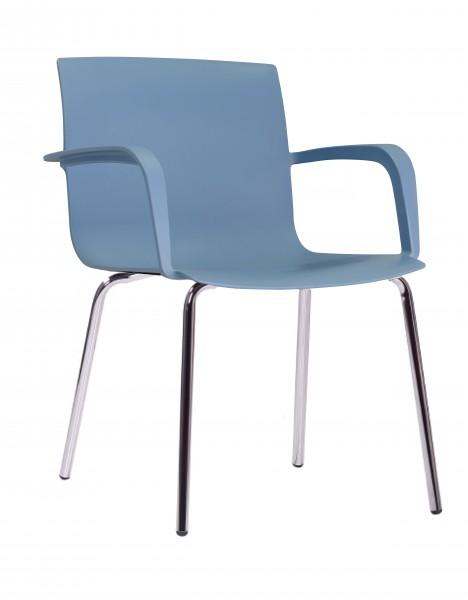 Kantinenstuhl Stapelstuhl mit Armlehnen ALINA blau