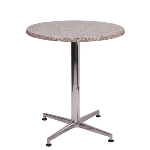 Tisch VISION Gestell Aluminium glänzend mit einer TOPALIT Tischplatte Granit Ø 70 cm (TOP82004-D70)
