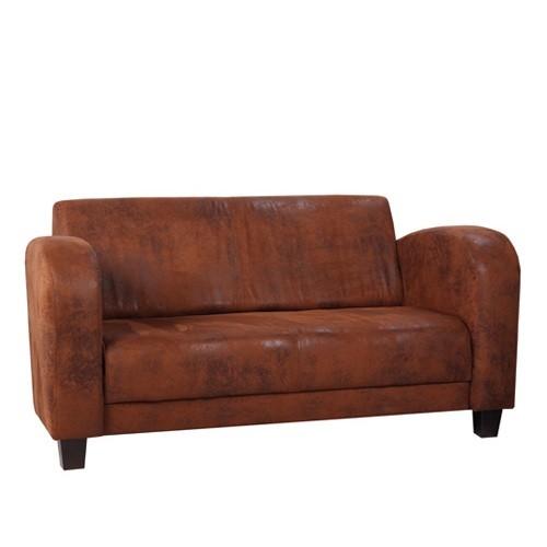 2-Sitzer-Couch CORBY in Bezugsstoff Microvelours in Wildlederoptik