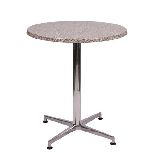 Tisch VISION Aluminium glänzend mit Topalit-Tischplatte Granit