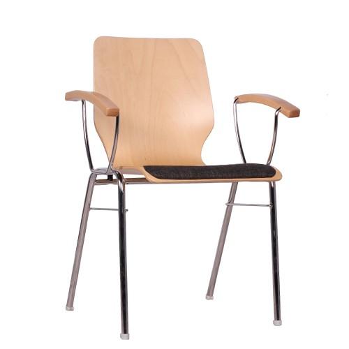 Holzschalenstuhl | Stapelstuhl mit Armlehnen COMBISIT D20 SP