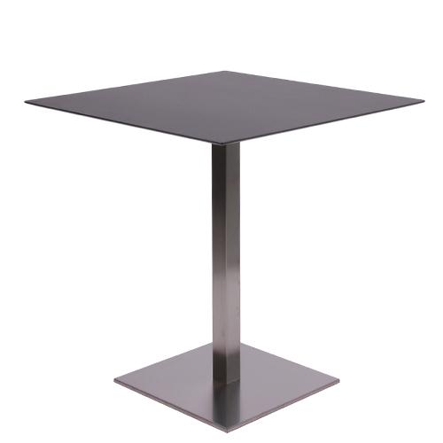 Tisch MANILA mit einer HPL-Kompakt-Tischplatte 10 mm, 69 x 69 cm schwarz (TPHPL10-6969-sw)