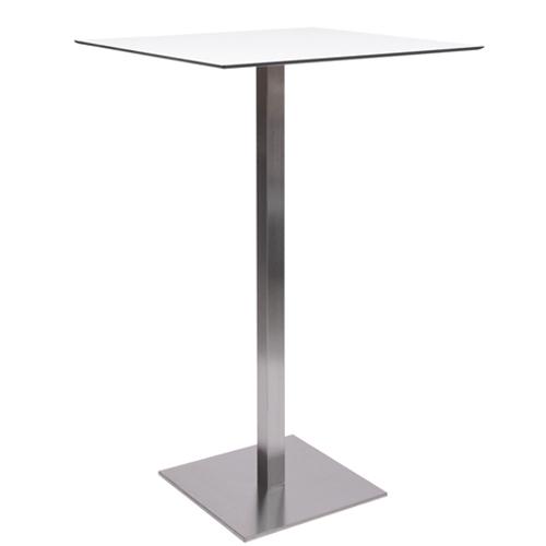 Stehtisch MANILA mit einer HPL-Kompakt-Tischplatte 10 mm, 59 x 59 cm weiß mit schwarzem Rand (TPHPL10-5959-we)