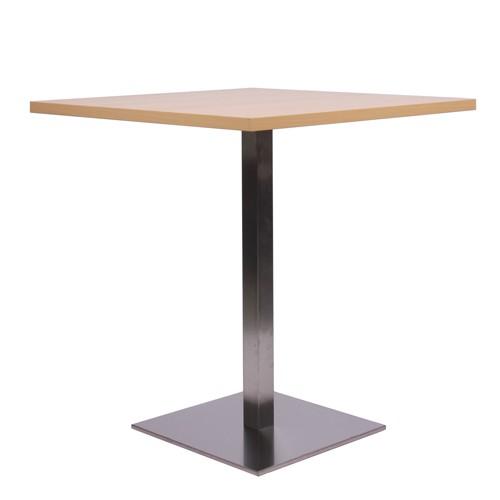 Tisch MANILA Edelstahl mit Melamin-Tischplatte 25 mm stark, 70 x 70 cm Buche natur