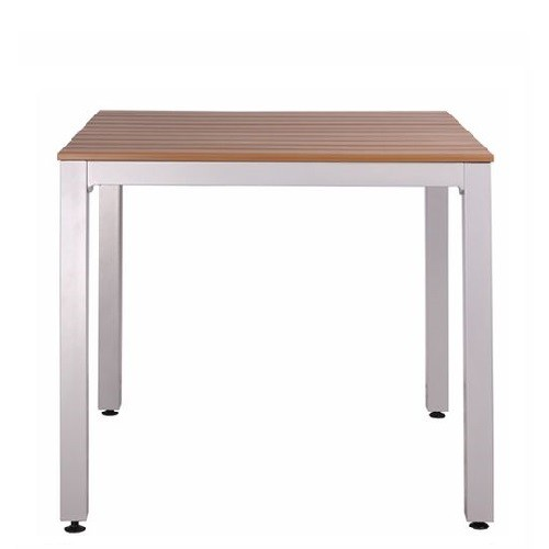 Outdoor Tisch LUNO 88 aus Aluminium mit Kunststoff-Leisten in Teakholzoptik
