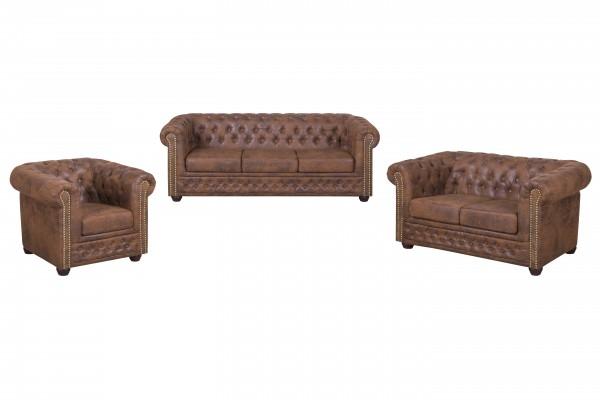 CHESTERFIELD 3+2+1 Garnitur | Sessel, 2 & 3-Sitzer Couch | Sofa-Garnitur | Couch YORK CHESTERFIELD