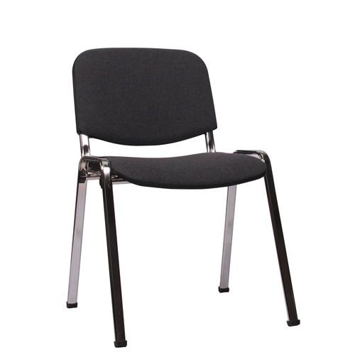 Stapelstuhl Konferenzstuhl ISO Gestell verchromt, Bezug grau