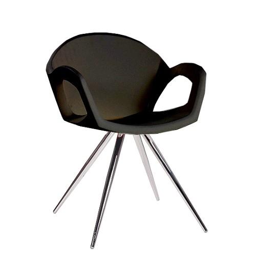 Designer-Sessel | Armlehnstuhl | moderner Sessel mit schwarzer Kunststoff Sitzschale für Bistros oder Eisdielen