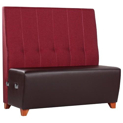 Gastrobank Dinerbank 2farbig Sitzfläche Kunstleder schokobraun KB05, Rückenlehne Uni-Stoff SF43 weinrot