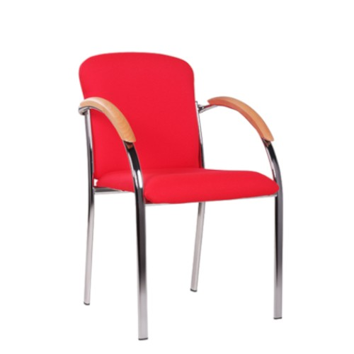 Besucherstuhl Konferenzstuhl mit Armlehnen Bezug rot