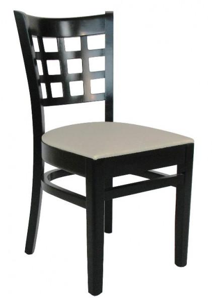 Restaurantstuhl BRITTA in schwarz, Kunstleder beige