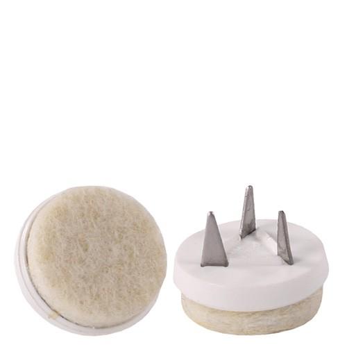 Bodengleiter PUNTAK mit Filz mit 3 Befestigungsstiften zum Nageln in weiß