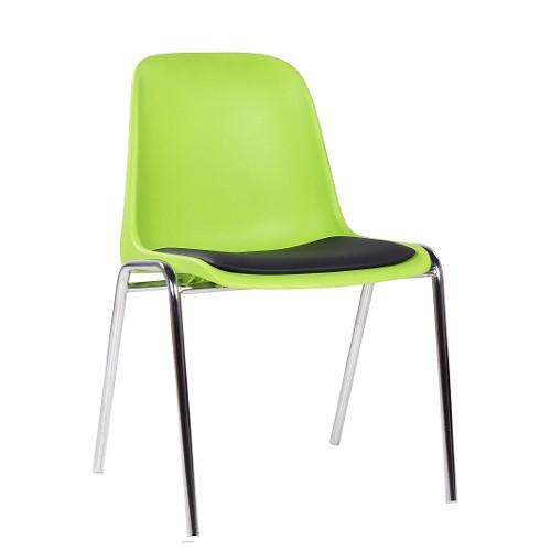 Stapelstuhl mit Kunststoff-Schale apfelgrün Sitzschale gepolstert
