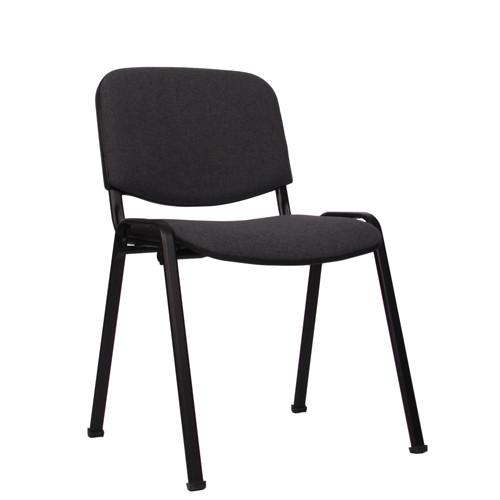 Stapelstuhl ISO Gestell schwarz, Bezug dunkelgrau